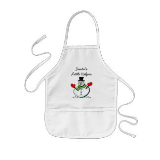 Santa's little helper cute kids Christmas snowman Kids Apron
