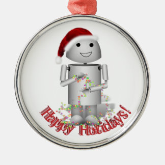 Santa's Little Helper - Cute Robot, Robo-x9 Metal Ornament