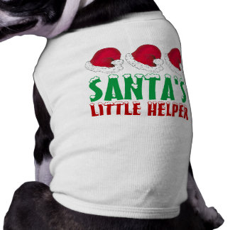 Santa's Little Helper Santa Hat Christmas Dog Tee