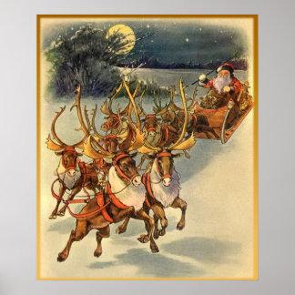 Santa's Midnight Ride Vintage Art Poster