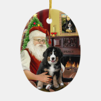 Santas new- Bernese Mountain Dog Puppy (L) Ceramic Oval Ornament