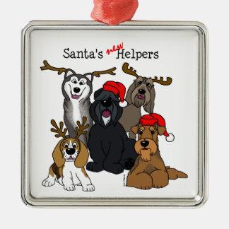 Santas new helpers metal ornament