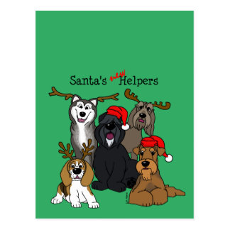 Santas new helpers postcard