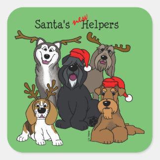 Santas new helpers square sticker