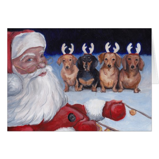 Santa's New Team Dachshund Dog Art Christmas Card