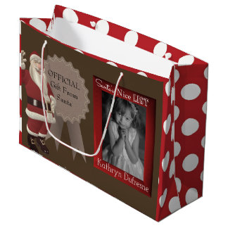 Santa's Nice List w/Photo Large Gift Bag