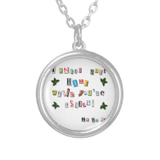 Santa's note silver plated necklace