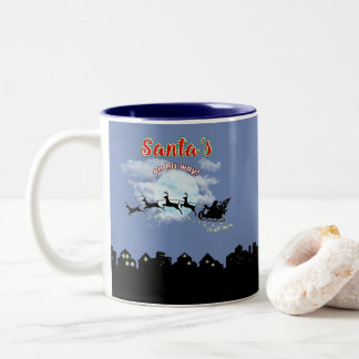 Santas on his way Christmas Holiday Coffee Cup Mug