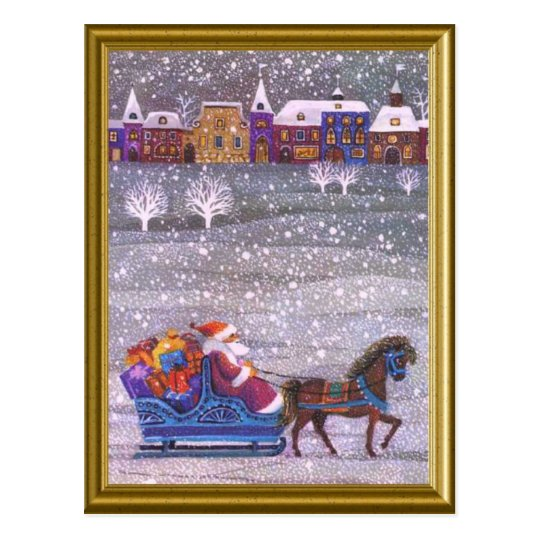 Santa's on his way postcard