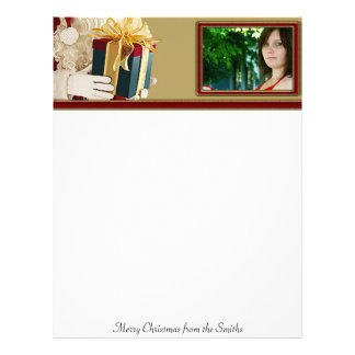 Santa's Present with Red and Gold Photo Frame Letterhead Template