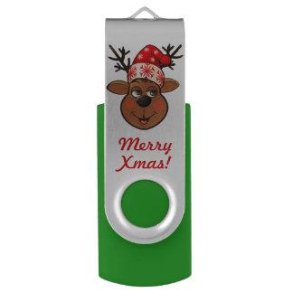 Santa's Reindeer Cartoon USB Flash Drive