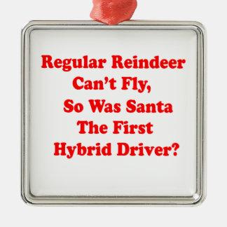 santa's reindeer hybrid pun metal ornament