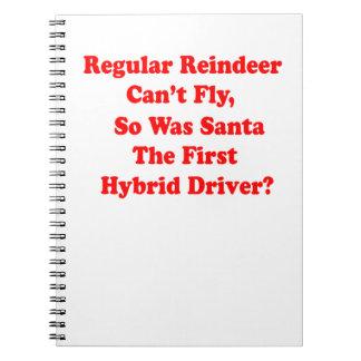 santa's reindeer hybrid pun spiral notebook