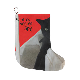 Santa's Secret Spy Black Cat Stocking