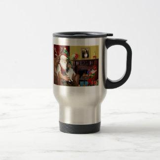 Santa's Shetland Sheepdog (L) Travel Mug