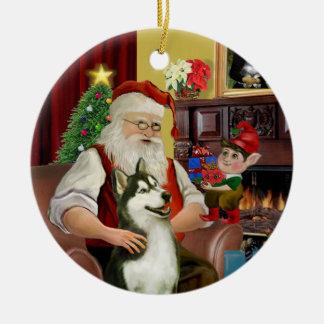 Santa's Siberian Husky #3 Ceramic Ornament