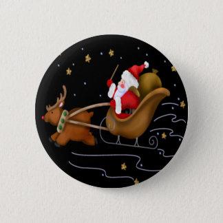 Santa's Sleigh - Button