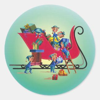SANTA'S SLEIGH by SHARON SHARPE Classic Round Sticker