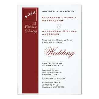 Santa's Sleigh Christmas Holiday Wedding Invitatio Card