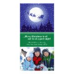 Santa's Sleigh Custom Holiday Photocard (green) Personalized Photo Card