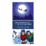 Santa's Sleigh Custom Holiday Photocard (navy) Personalized Photo Card