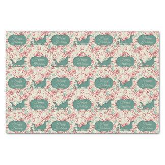 Santas Sleigh Cutout Happy Holidays Flourish Tissue Paper