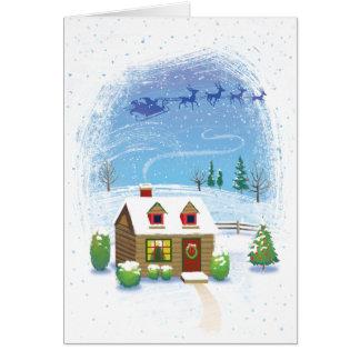 Santas Sleigh Flying Over Cabin Christmas Card
