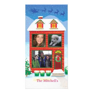 Santa's Sleigh flying over House Custom Photo Card