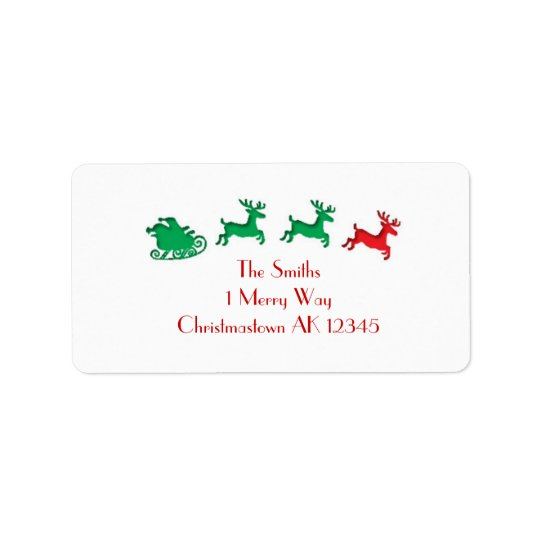 Santa's Sleigh letterpress address labels