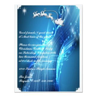 Santa's Sleigh on Blue Wave Party Invitation