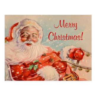 Santas Sleigh Ride Christmas Postcard