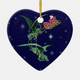 Santa's Sleigh with Dragons Ceramic Heart Ornament