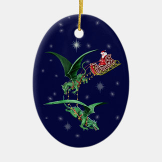 Santa's Sleigh with Dragons Ceramic Oval Ornament