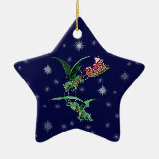 Santa's Sleigh with Dragons Ceramic Star Ornament