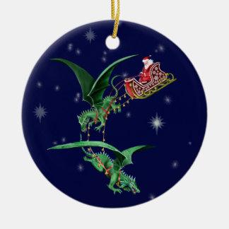 Santa's Sleigh with Dragons Round Ceramic Ornament