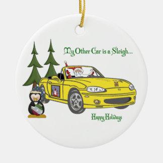 Santa's Sleigh-Yellow Round Ceramic Ornament