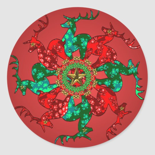 Santa's Stars Sticker Red