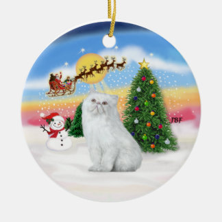 Santas Take Off - White Persian cat Round Ceramic Ornament