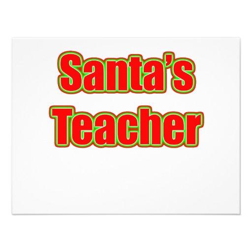 Santa's Teacher Personalized Invitations