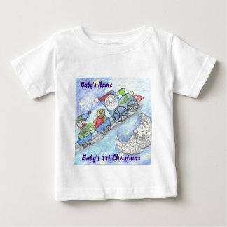 Santa's Teddy Bear, Christmas Train, baby's 1st Baby T-Shirt