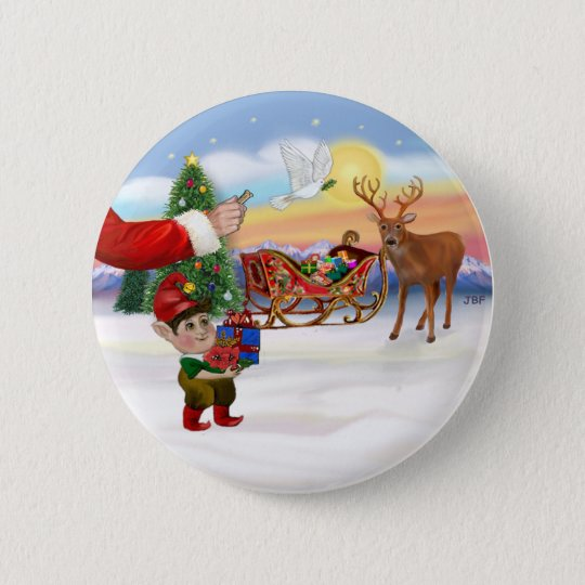 Santas Treat - Add Your Pet Here 2 Inch Round Button