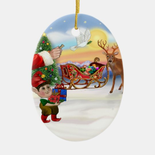 Santas Treat - Add Your Pet Here Ceramic Ornament