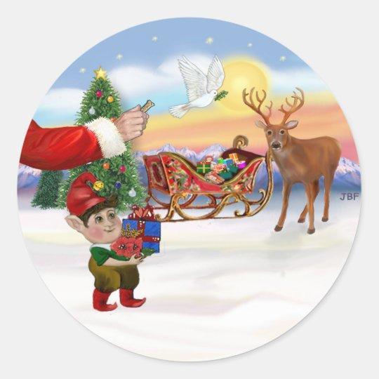 Santas Treat - Add Your Pet Here Classic Round Sticker