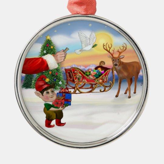 Santas Treat - Add Your Pet Here Metal Ornament