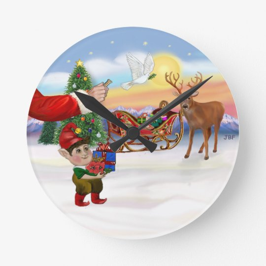 Santas Treat - Add Your Pet Here Round Clock
