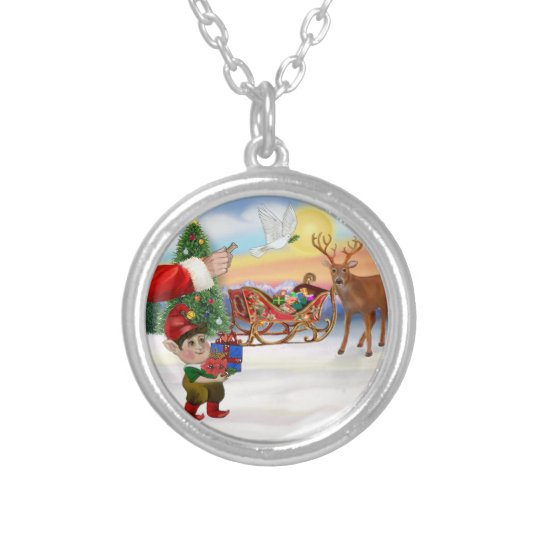 Santas Treat - Add Your Pet Here Silver Plated Necklace