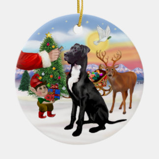 Santas Treat - Black Great Dane Round Ceramic Ornament