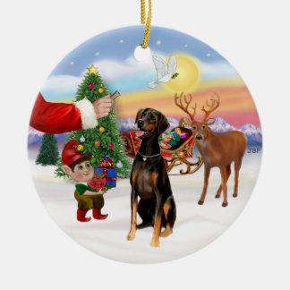 Santa's Treat - Doberman Pinscher (natural ears) Round Ceramic Ornament
