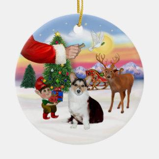 Santa's Treat  - Welsh Corgi (tri color) Ceramic Ornament