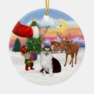 Santa's Treat  - Welsh Corgi (tri color) Round Ceramic Ornament